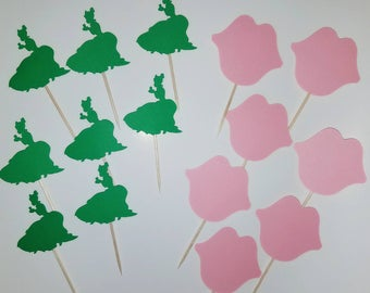 24 Princess and the Frog cut outs cupcake toppers Tiana Princes Frog Kiss Disney Movie The Princess and the Frog Character