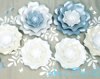 Large flowers wall.  Large flowers nursery wall. Nursery paper flowers wall. Baby shower backdrop. Girls room decor. 3D flowers for nursery.