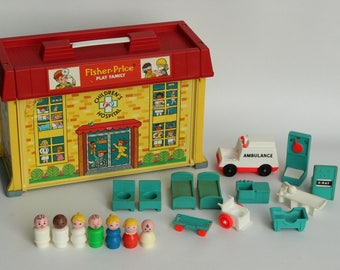 Fisher Price Little People, #931 Play Family Children's Hospital, 1976, Made in U.S.A.