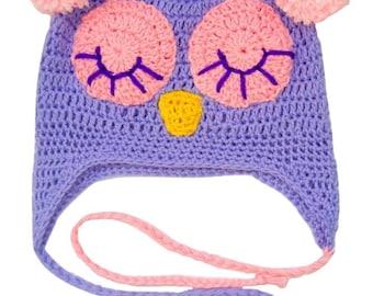 Newborn Sleeping Owl hat . Shower party . Baby boy / baby girl hat. 0-3 months