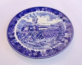 Beautiful blue and white souvenir cog railway transfer-ware plate by Jonroth