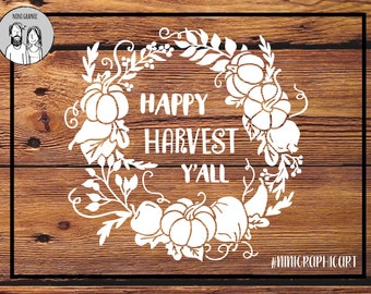 Happy harvest Y'all cut file, Pumpkin svg, Fall wreath, Cricut & Silhouette files, Pumpkin, floral Svg, Dxf, Autumn SVG, Thanksgiving