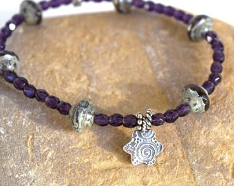 Beaded stretchy bracelet, Purple Czech glass beads with sterling silver star charm, Purple stretchy bracelet with glass beads