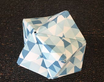 Blue and White Modular Origami Sculpture