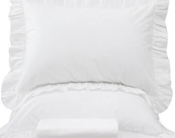 romantic white ruffles duvet cover bedding set size