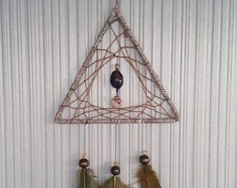 Small Brown Triangle Dreamcatcher  15x40cm