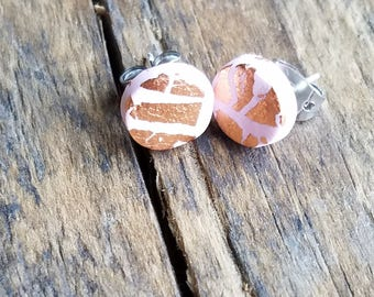 Pink and Rose Gold Leaf Accent Post Earrings
