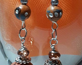 Brown n Mirror Earrings Silver Tone Accents