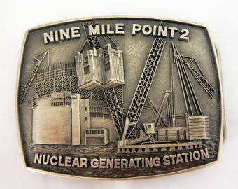 1970' s Vintage Belt Buckle | Nine Mile Point Nuclear Generating Station Reactor Building Enclosed Pewter Belt Buckle