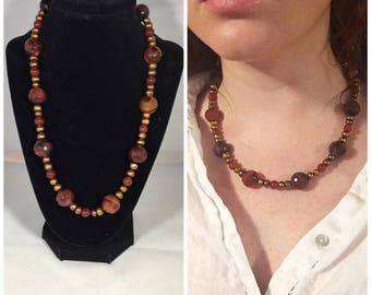 Carnelian and Pearl necklace