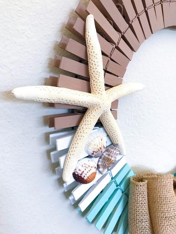 Beach Clothespin Wreath Coastal Wreath Ocean Wreath
