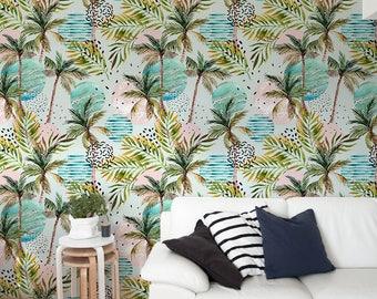 Removable Wallpaper, Tropical Wallpaper, Peel and Stick Wallpaper, Leaves Wallpaper, Jungle Wall Decor, Jungle Wallcovering - A217