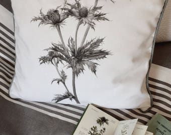 Cotton cushion cover. White panama 100% cotton. Grey piping. Monochrome grey seaholly image. 40cm x 40cm.