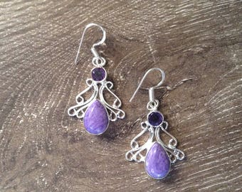Handmade Silver Charoite & Amethyst Earrings