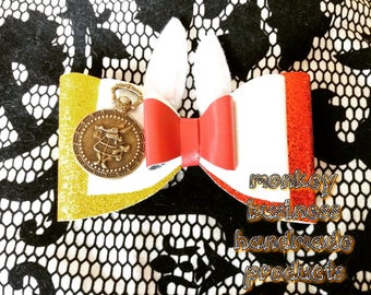 Alice in wonderland inspired bow collection  (5 different bows/ styles) white rabbit, Alice, Cheshire cat, mad hatter, queen of heart