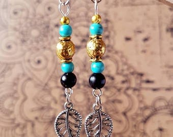 Earthy turquoise and gold leaf drop earrings