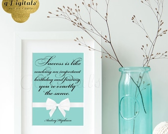 Audrey Hepburn Quote, Inspirational Home Decor, Tiffany quotes, home decor, bridal decorations, wall art 5x7 {Blue/White Ribbon}