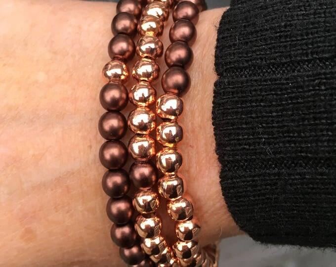 Free Shipping within NL Braceletset of 3 bracelets bracelet natural stone gemstone rose gold