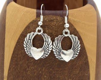 Silver winged heart, silver winged heart clip earrings