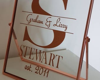 personalised, monogram, vinyl, freestanding, glass frame, rose gold, anniversary, wedding, engagement,couple gift