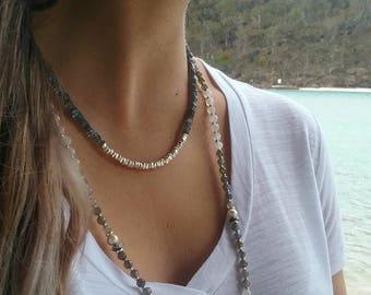 Modern Design Labradorite Necklace - Gemstone and Silver Jewelry  - Labradorite Jewelry