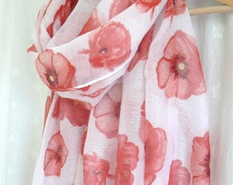Red and White Poppy Scarf Ladies Women's Shawl Wrap Flower Floral Remembrance