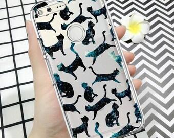 Pixel case, pixel 2 case, pixel 2xl case, pixel xl case, cats, space, google pixel case, google case, clear pixel case, pixel cats case