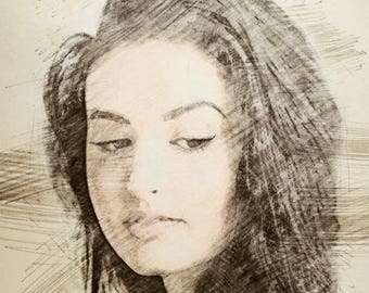 digital art portrait, custom portrait sketches portrait sketch by photo, colored pencil sketch, custom painting from photo