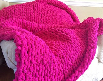 Hot Pink Chunky Yarn Blanket