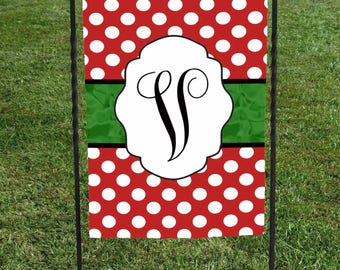 "Personalized Garden Flag, Red with White Polka Dots , Initial in center of Green Ribbon, Christmas Yard Art, 12""x18"""