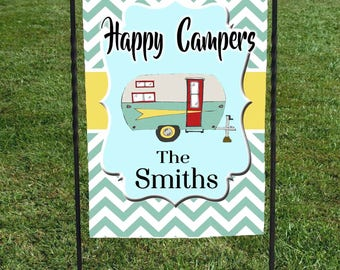 """Happy Campers Flag, Personalized, Teal Chevron, Yellow Banner, Display at your campsite, 12""""x18"""" , retirement gift, birthday gift"""