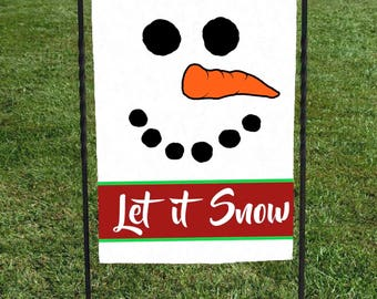 """Snowman face Garden Flag, Let it Snow on a Red Banner outlined in green,White textured background, Christmas Yard Art, 12""""x18"""", frosty"""