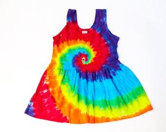Sundress, tie dye, spiral rainbow