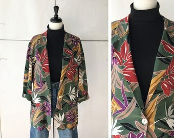 80s LARGE womens floral blazer | womens long floral jacket | vintage 80s blazer