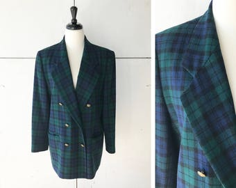 70s XL womens pendleton plaid blazer | vintage plaid blazer | 70s double breasted jacket
