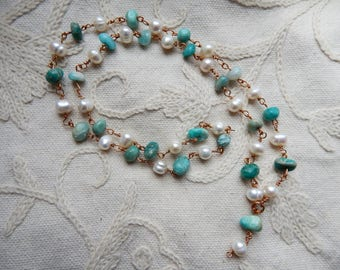 Amazonite & Freshwater Pearl Bronze Wire Link Boho Necklace