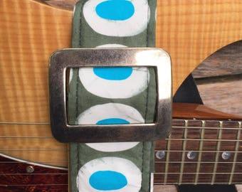 Unique print on havdmade guitar strap