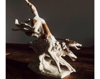 vintage hutschenreuther porcelain 2 Borzoi Dogs Figurine by K. Tutter