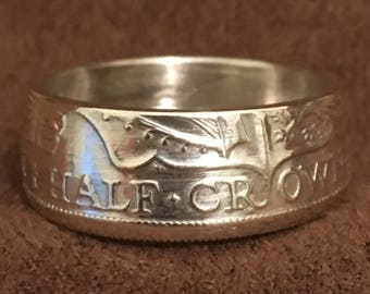 Half Crown Coin Ring 0.5 Silver