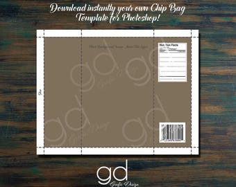 Chip Bag Template for PHOTOSHOP! Printable Downloadable Photoshop File