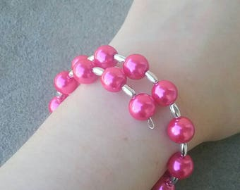 Sterling Silver Memory Wire Bracelet with Pink Glass Pearls // Women's Jewelry // Adjustable Bracelet // One Size Fits All