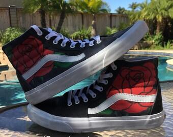 """Custom """"Roses"""" Vans Sk8-Hi"""