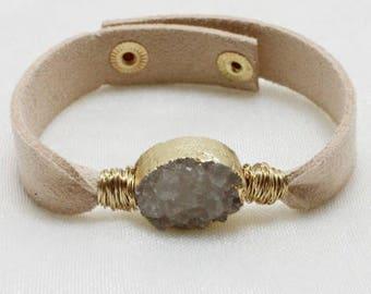 beige leather bracelet with white druzy stone