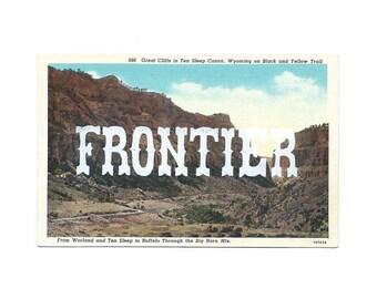 Screenprinted vintage postcard - Frontier