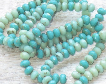 5x3mm Czech Glass Faceted Rondelle Bead Green Turquoise Mix (30pcs) -Czech Glass Beads - Mixed Colors