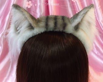 White tabby cat ears furry headband