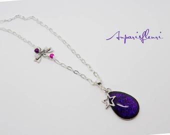 Necklace drop glitter silver