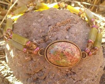 Unakite and Serpentine Gemstone Bracelet