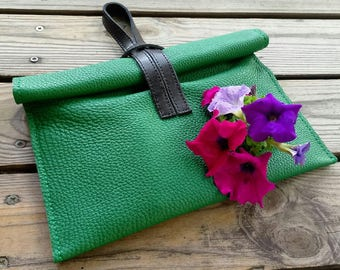 Small leather  handbag green for any occasion,  green clutch