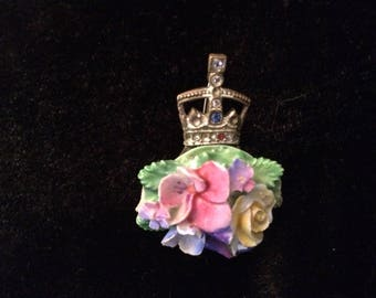 Crown Staffordshire  1937 Coronation King George VI  Floral Brooch pin RARE!